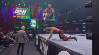 Brandon Cutler slams Shawn Spears' head into the ring