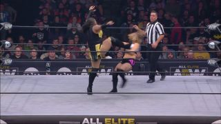 Nyla Rose uses great strength, and a boot, to stomp down Danny Jordan