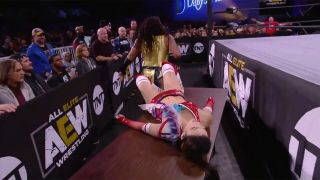 Nyla Rose lands a major drop on Hikaru Shida